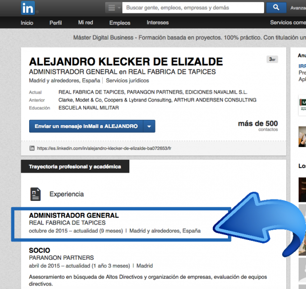 Captura del LinkedIN del enchufado de Ahora Madrid.
