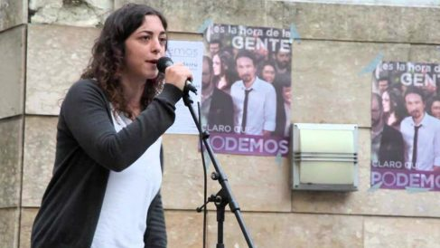 La eurodiputada de Podemos Tania González, en un acto electoral antes de ser elegida representante en el Parlamento Europeo.