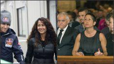 A la izquierda, Luis Salom junto a su madre en el GP de Japón 2013, a la derecha su madre con el pelo corto en su funeral. (Getty y EFE)