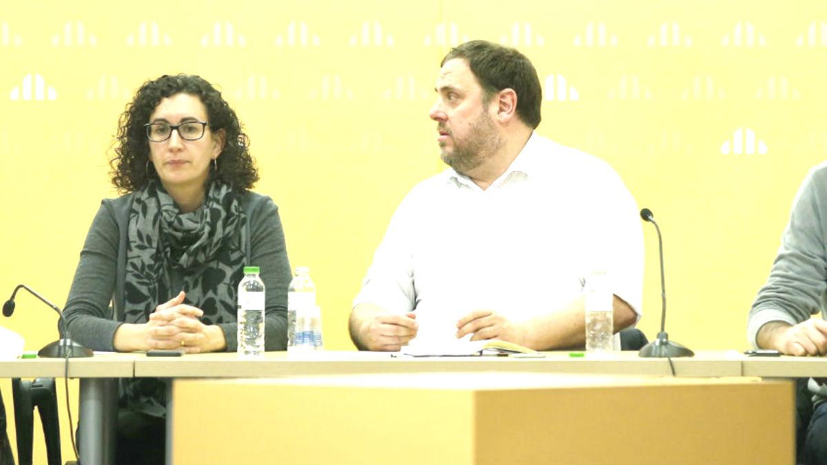Marta Rovira y Oriol Junqueras en un acto de ERC.