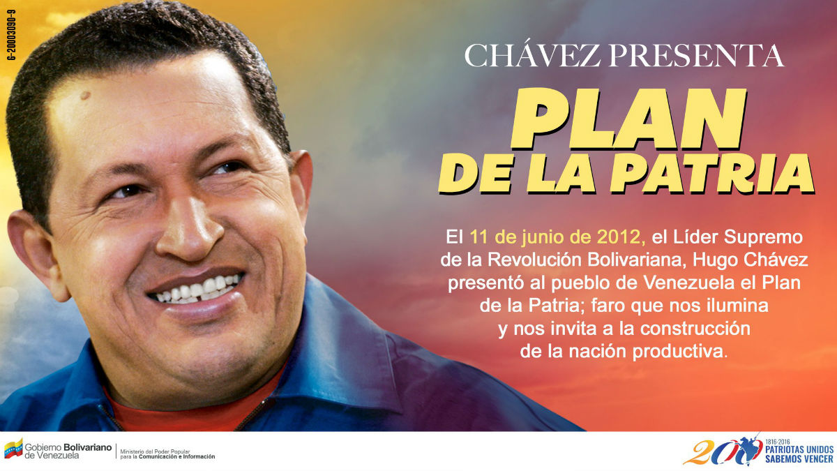 El «Plan de la patria» presentado por Hugo Chávez en 2012