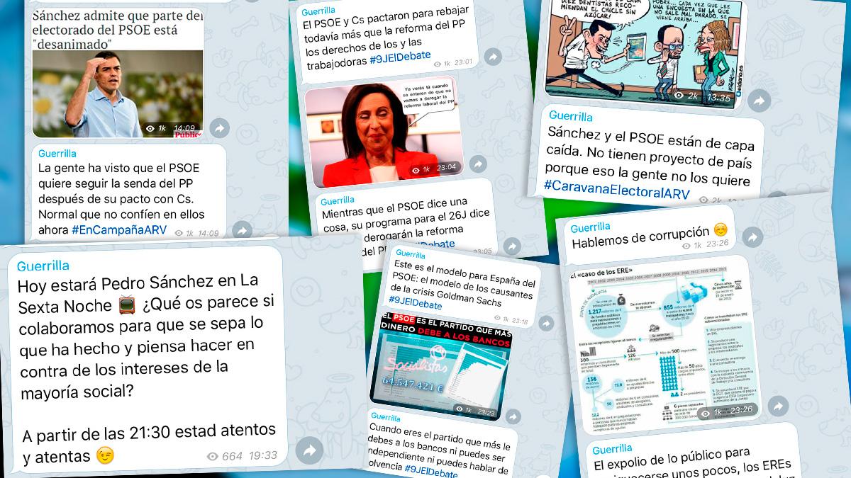 Consignas enviadas por Podemos a sus trolls para boicotear la entrevista de Sánchez en las redes sociales