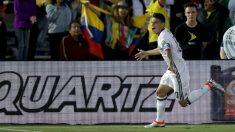 James Rodríguez celebra un gol reciente con Colombia. (Getty)