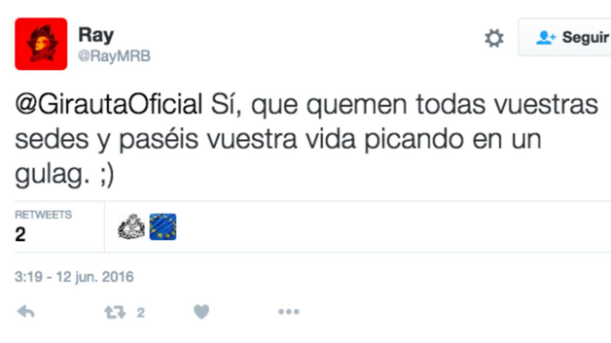 Amenazas al portavoz de Ciudadanos, Juan Carlos Girauta, en la red social Twitter