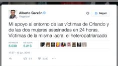 Tuit de Alberto Garzón sobre la masacre de Orlando.