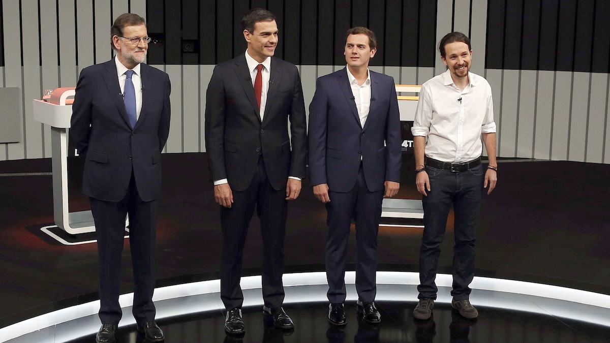 Rajoy, Sánchez y Rivera en el debate de las última campaña (Foto: Efe).
