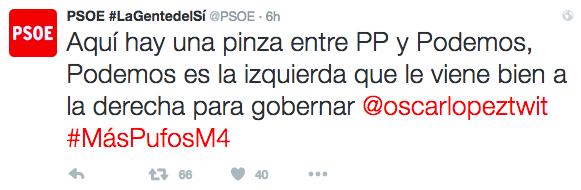 Moragas responde a Rivera que entre PSOE y C's lo que hay son