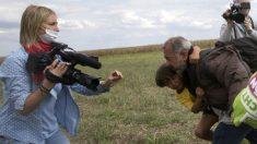 La reportera Petra Laszlo en el momento de zancadillear e Osama Abdul Mohsen en la frontera húngara.