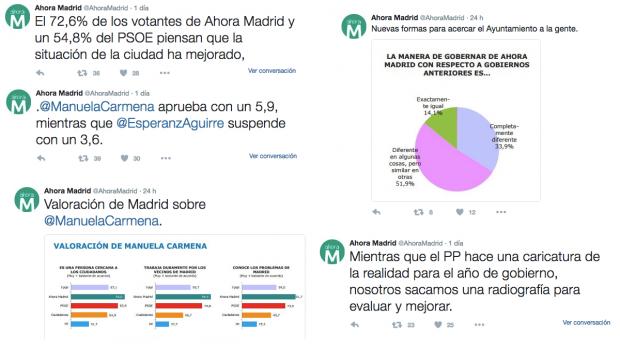 Tuits Ahora Madrid sobre el sondeo demoscópico que han encargado.