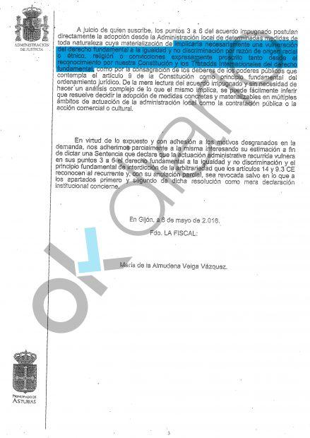 Escrito de la Fiscalía de Gijón.