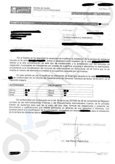 Carta enviada por el Ayuntamiento a las terrazas de la calle Montera. (Clic para ampliar)