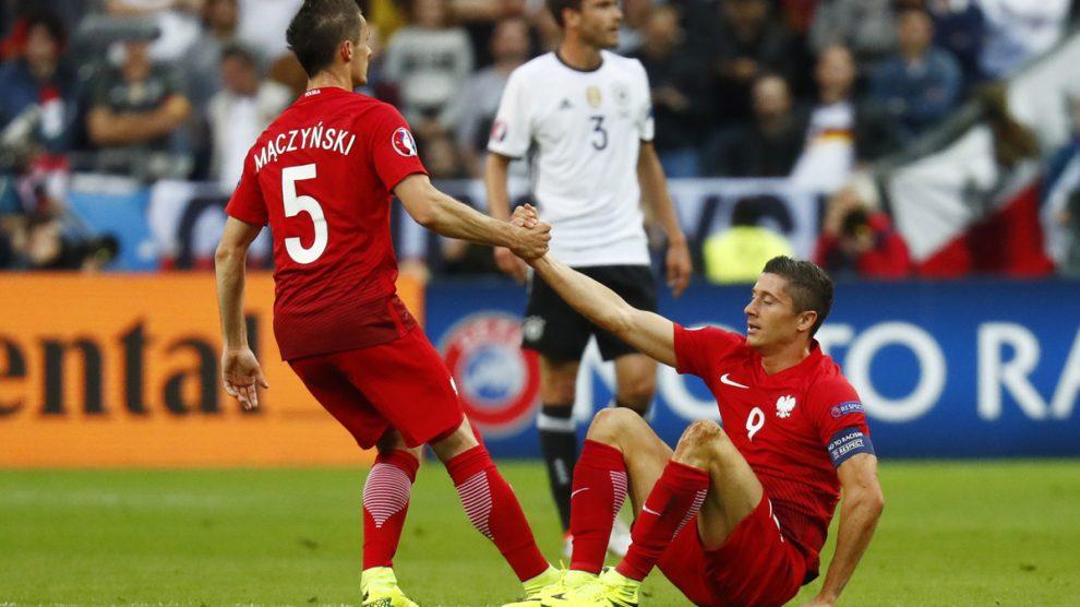 Lewandowski, durante el Alemania-Polonia.