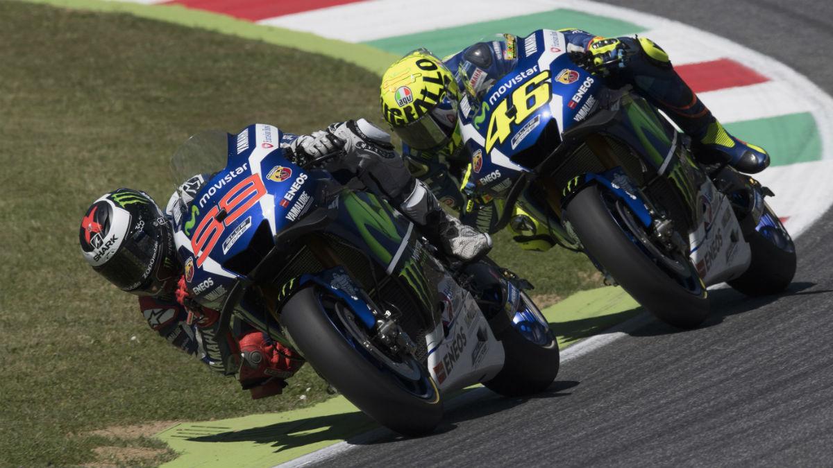 Jorge Lorenzo y Valentino Rossi estrenarán el nuevo chasis de Yamaha en el Gran Premio de Holanda, que se disputa en Assen del 24 al 26 de junio. (Getty)