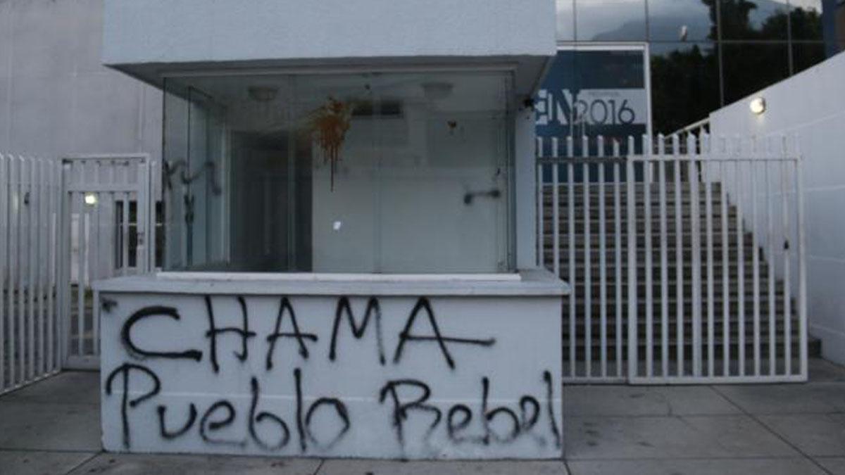 Sede de El Nacional atacada (Foto: El Nacional)