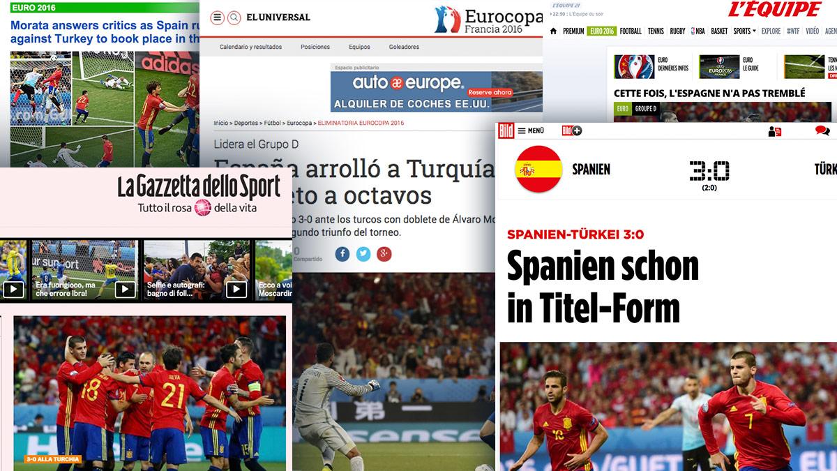 Los medios de comunicación internacional aplauden el fútbol de España.