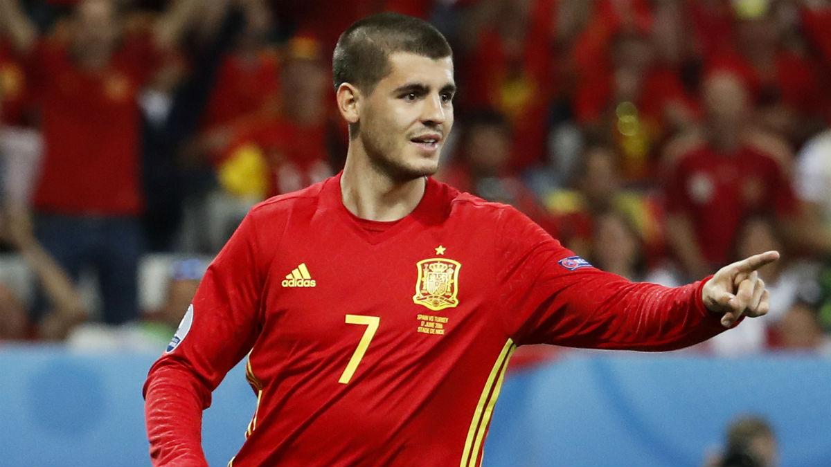 Morata celebra un gol a Turquía. (Reuters)