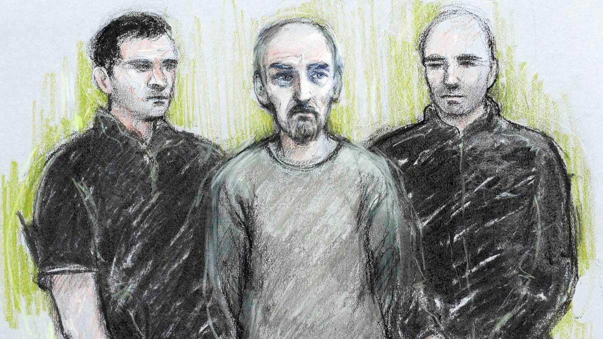 Dibujo del asesino de Jo Cox realizado por el artista del juzgado. (Reuters)