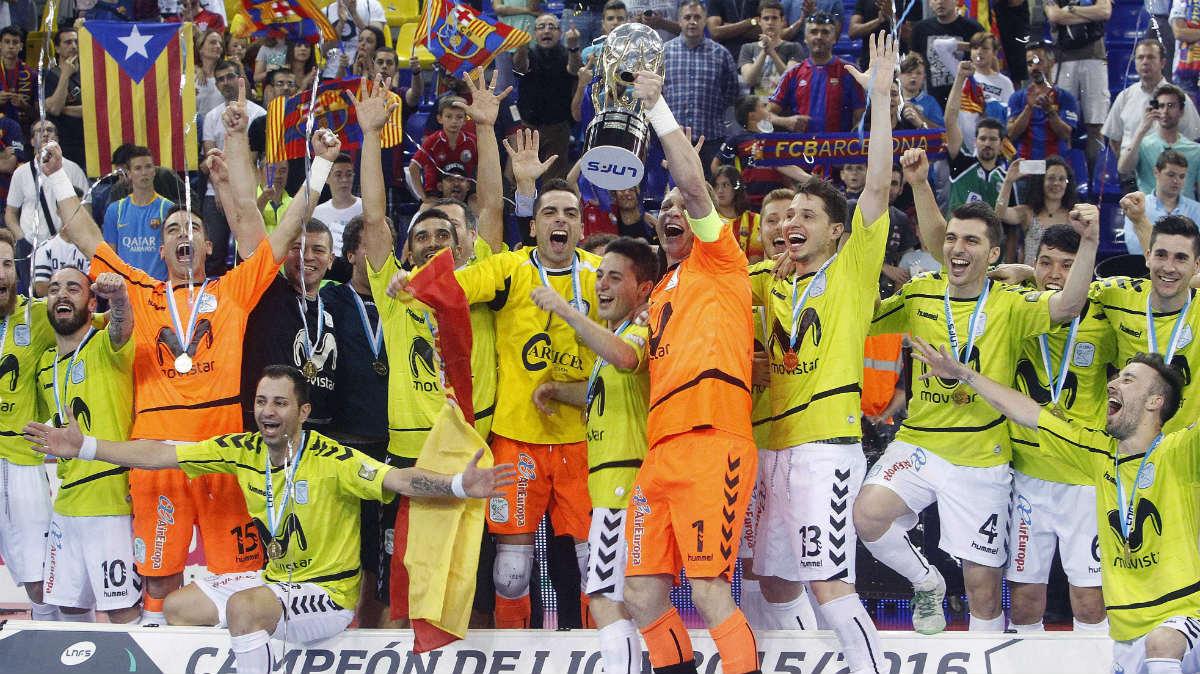 El Movistar Inter se proclamó campeón de Liga en el Palau. (EFE)