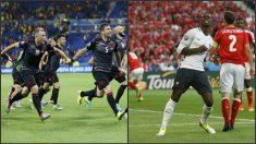 Albania celebra su triunfo y Pogba lamenta una ocasión fallada ante Suiza. (Reuters)