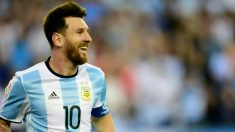 Messi celebra su gol ante Venezuela. (AFP)