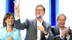 Rajoy en el acto del PP de este domingo en Lleida (Foto: Efe).