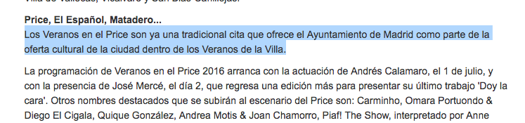 """El ciclo 'Veranos Price' según la nota de prensa oficial es """"parte de la oferta cultural dentro de los Veranos de la Villa"""". (Clic para ampliar)"""