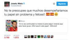 Joselu respondió a Pedro en Twitter.