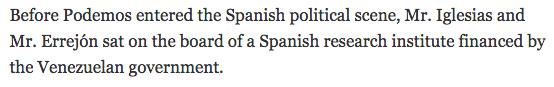 El NYT también dice que Chávez «financió» a Podemos, un partido de «extrema izquierda»