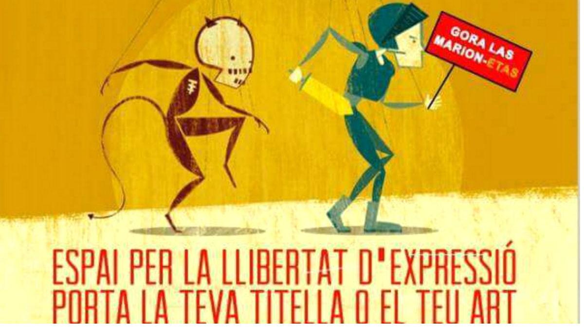 Colau da su apoyo a los titiriteros con un cartel que pone: «Gora las marion-etas».