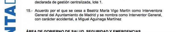 Acuerdo del pleno para cargarse a la interventora general de Madrid.