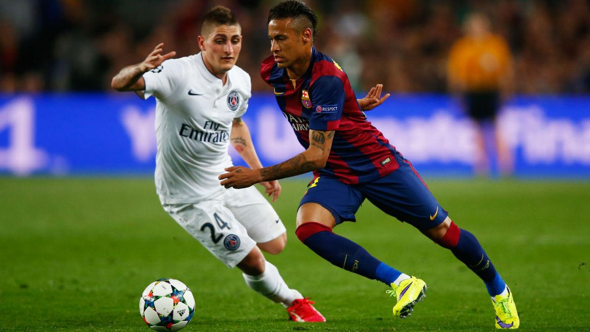 Neymar, en un partido contra el PSG. (Getty)