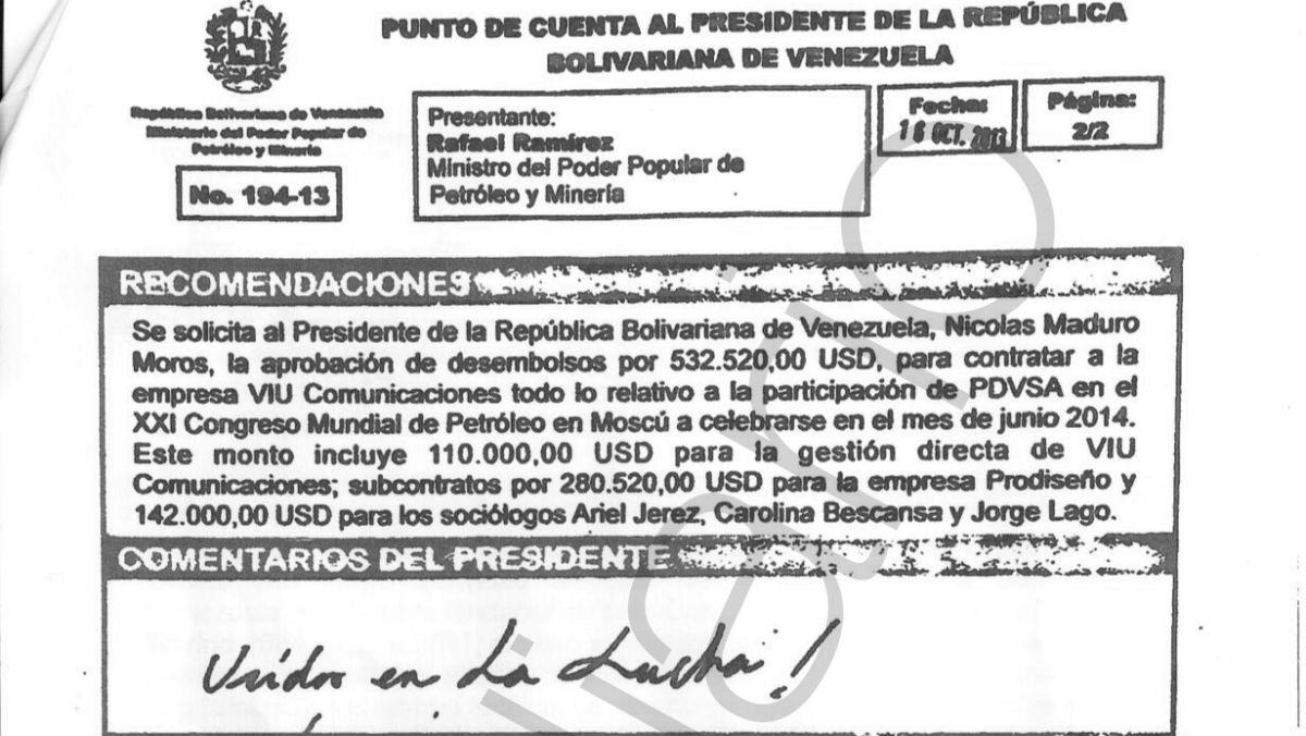 «Punto de cuenta al presidente» en el que Nicolás Maduro ordenó pagar 142.000 dólares a los dirigentes de Podemos Ariel Jerez, Carolina Bescansa y Jorge Lago.