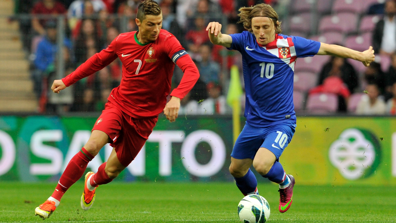 Cristiano y Modric, durante un Portugal-Croacia.