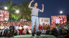 Pedro Sánchez en el acto de cierre de campaña del PSOE (Foto: EFE)