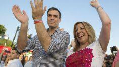 Susana Díaz y Pedro Sánchez en el cierre de campaña en Sevilla. (Foto: EFE)