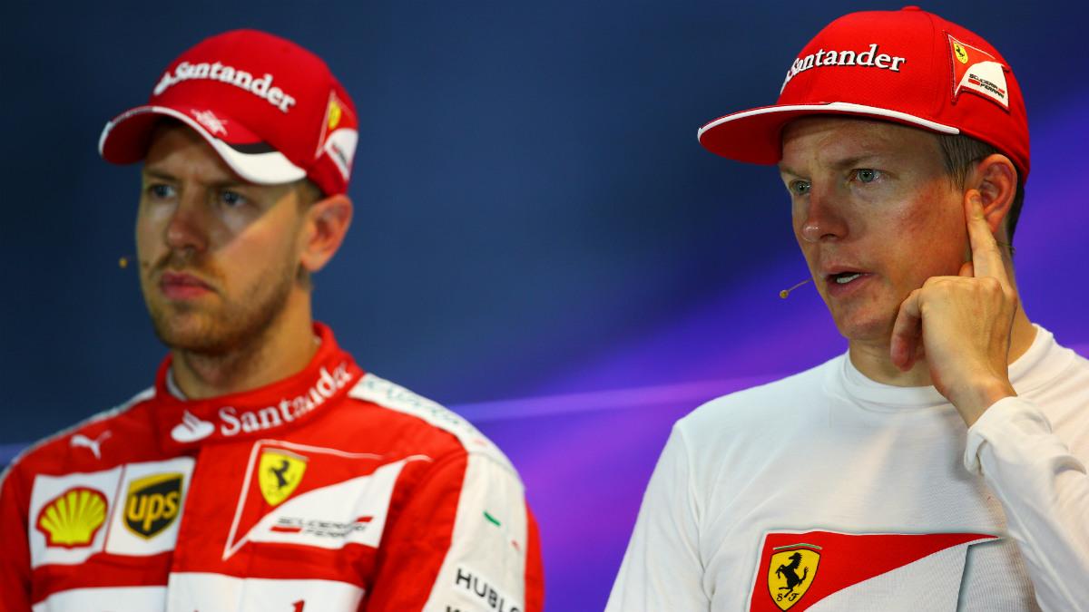 Vettel y Raikkonenn, en rueda de prensa. (Getty)