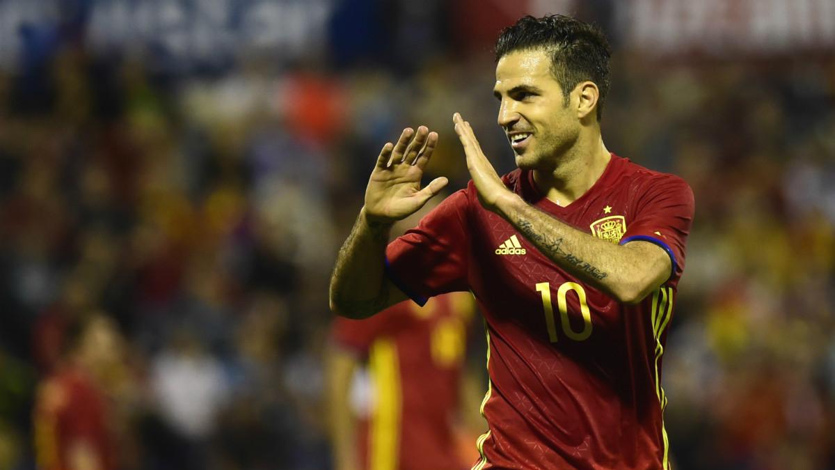 Cesc celebra un gol con la camiseta de España. (Reuters)