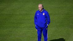 Del Bosque durante el entrenamiento previo a Italia. (Reuters)