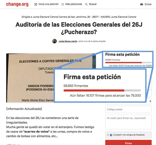Firmantes por la auditoria del 26J en Change.org.