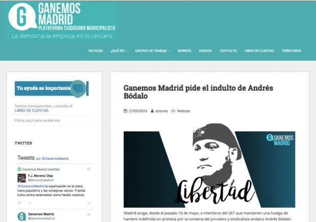 Ganemos Madrid solicitó el indulto por la libertad del criminal Bódalo.