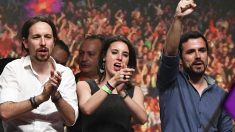 Pablo Iglesias, Irene Montero y Alberto Garzón. (Foto: AFP)