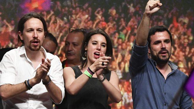 Pablo Iglesias, Irene Montero y Alberto Garzón