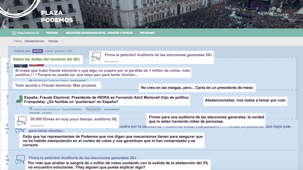En Plaza Podemos se acumulan las peticiones de auditar las elecciones. (Clic para ampliar)