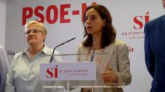 Sara Hernández en la sede del PSOE-M en al calle Buen Suceso. (Foto: OKDIARIO)