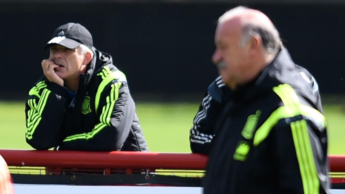 Villar y Del Bosque, en un entrenamiento de la Selección. (Getty)