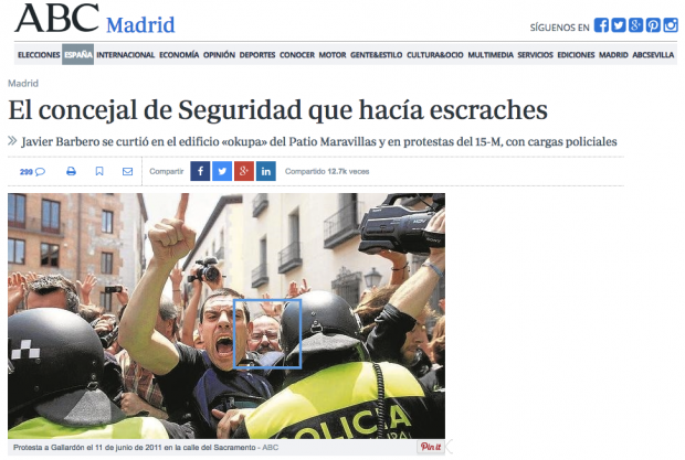 Captura del diario ABC mostrando a Javier Barbero 'escracheando'.