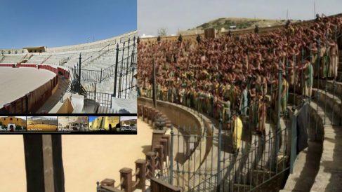 Arriba a la izquierda se puede ver la imagen que ofrece Google Views de la plaza de toros de Osuna, y de fondo el lugar ambientado en Juego de Tronos.