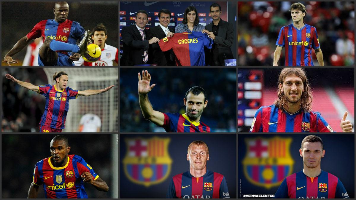 Nueve de los 11 centrales que el Barcelona ha fichado en la última década.