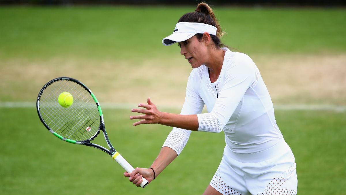 Garbiñe Muguruza durante un partido en Wimbledon. (AFP)