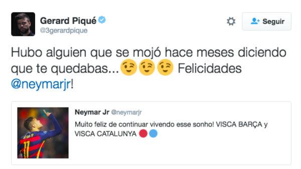Piqué comentó el tuit de Neymar.